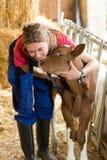 Tierarzt auf einem Bauernhof stockbilder