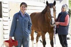 Tierarzt in der Diskussion mit Pferden-Inhaber lizenzfreie stockfotos
