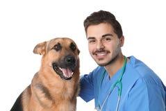 Tierarzt Doc. mit Hund stockfoto
