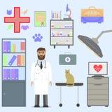 Tierarzt mit Katze Lizenzfreie Stockbilder