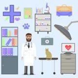 Tierarzt mit Katze Lizenzfreies Stockbild