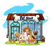 Tierarzt und viele Haustiere am Geschäft für Haustiere Stockfotos
