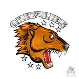 Tierbärngesicht von der Seitenansicht mit den blanken Zähnen Logo für irgendwelche Sportteamgraubären lokalisiert auf Weiß lizenzfreie abbildung