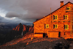 Tierbergli hut at sunset Stock Image