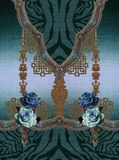 Tierdruckentwurf der blauen Rosenblumen stock abbildung