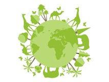 Tiere auf dem Planeten, Tierheim, Naturschutzgebiet Nette Karte der Welt der Blumen und der feierlichen Fahne mit Basisrecheneinh Lizenzfreie Stockfotografie