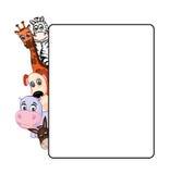 Tiere auf weißem Hintergrund mit Rahmen Stockfoto