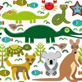 Tiere Australien: Schlange, Schildkröte, Krokodil, Alligator, Känguru Lizenzfreies Stockbild