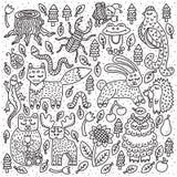 Tiere der wild lebenden Tiere Wald Fox, Hase, Bär Nette Entwurfsgekritzel Auch im corel abgehobenen Betrag lizenzfreie stockfotos