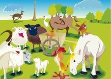 Tiere des Bauernhofes in der einfachen Zeichnung Stockfoto