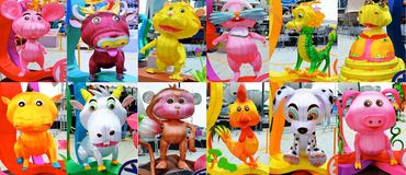 12 Tiere des chinesischen Tierkreises Stockbilder