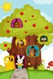 Tiere in einem Baumhaus vektor abbildung