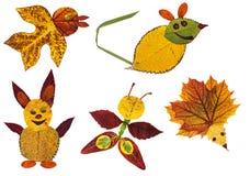 Tiere gemacht vom Herbstlaub stockfotografie