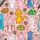 Tiere gezeichnetes nahtloses Muster Stockbilder