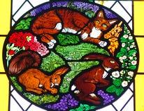 Tiere im Buntglas Stockbild