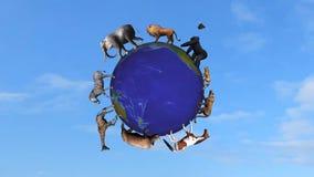 Tiere kreisen die Weltkugel ein