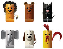 Tiere - Löwe, Bär, Katze, Elefant, Hund, Huhn stock abbildung