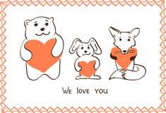 Tiere mit Herzen Stockbilder