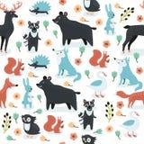 Tiere silhouettieren nahtloses Muster Lizenzfreie Stockbilder