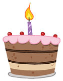 Tiered birthday cake with one candle on top Stock Photography