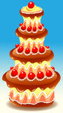 Tiered Cake. Vector illustration of tiered chocolate cake decorated with small red fruits Stock Images