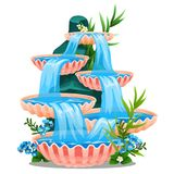 Tiered fountain isolated on white background. Decor element for landscape design of square, garden or park. Vector. Cartoon close-up illustration royalty free illustration