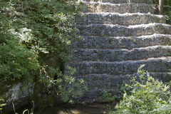 Tiered Gabion Riprap Rock Lines Stream Bank Royalty Free Stock Photo