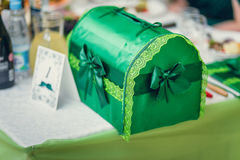 Tiered green wedding box for envelopes and post cards at a banqu Stock Photos