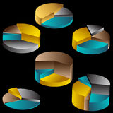 Tiered Pie Charts. Set of 3D Pie Chart diagrams - black background Stock Photography