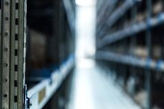 Interior of new modern warehouse of spare parts stock photo