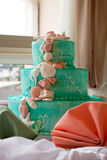Tiered Wedding Cake. A blue beach themed wedding cake with three tiers Stock Photo