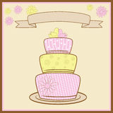 Tiered Wedding Cake. Vector Illustration Stock Images