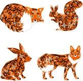 Tierfuchs, Hase, Eichhörnchen Stockfotos