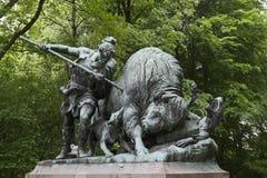 Tiergarten bison hunt statue Royalty Free Stock Image