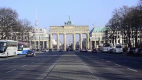 Tiergarten with Brandenburg Gate Zoom out stock video