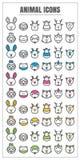 Tierische dünne Linie Farbschwarzes blauer rosa Gelbgrünvektor der Ikonen Stockbilder