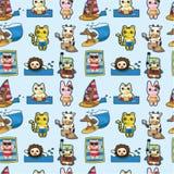 Tierisches nahtloses Muster des Karikatursommers Stockfotografie