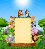 Tierkarikatur mit leerem Zeichen am Tageslicht lizenzfreie abbildung