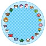 Tierkarikatur um Kreis Stockbilder