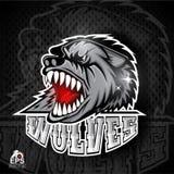 Tierkopf mit den blanken Zähnen Logo für irgendwelche Sportteamwölfe auf Dunkelheit stock abbildung