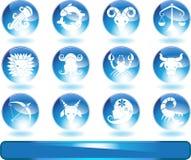 Tierkreis-Horoskop-Ikonen - rund Stockfotos