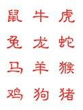 Tierkreis im chinesischen Schriftzeichen Stockbild