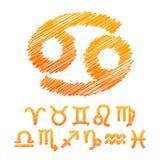 Tierkreis-Symbol-Ikonen lokalisiert auf Weiß Lizenzfreies Stockfoto
