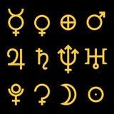 Tierkreis- und Astrologiesymbole der Planeten stock abbildung