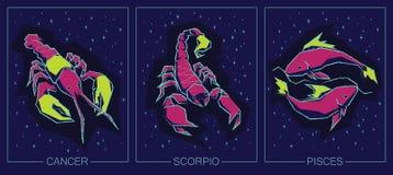Tierkreis-Wasser-Zeichen Krebs, Skorpion, Fische Lizenzfreie Stockfotografie