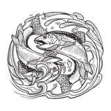 Tierkreis-Zeichen - Fische Zwei Fische, die vom Wasser springen Skizze lokalisiert auf weißem Hintergrund stock abbildung