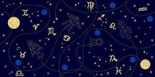 Tierkreishimmel Abstraktes nahtloses Vektormuster mit Konstellationen, Mond, Sternen, Raumschiffen und Sternzeichen Lizenzfreie Stockfotografie