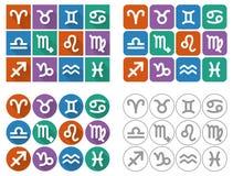 Tierkreiszeichen des Tierkreises Flache UI-Quadratikonen mit langem Schatten Stockbild
