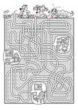 Tierlabyrinth für Kinder in Schwarzweiss Stockfoto