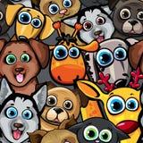 Tiermuster mit Hunden, Katze, Rotwild und Giraffe Stockfotografie